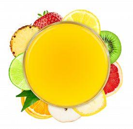 stock photo of fruit  - Fresh fruit juice and slices of fruit on white background - JPG