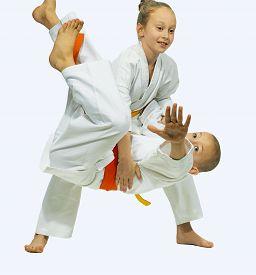 picture of judo  - Children in karategi are trained judo throws - JPG