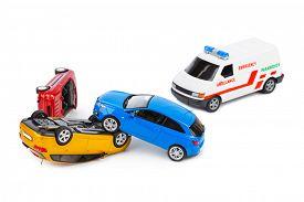picture of ambulance  - Crash toy cars and ambulance car isolated on white background - JPG