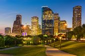 Houston, Texas, USA park and downtown skyline. poster