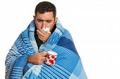 Portrait of a sick man with the flu, allergy, germs,cold coughing isolated on white background poster
