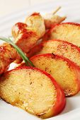 Chicken Skewer And Baked Apple