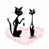 stock photo of black cat  - cartoon of a cat couple on romantic date - JPG