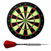 Vector dartbord met dart