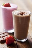 pic of fruit shake  - strawberry and chocolate milk shake with garnish - JPG