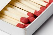 image of sulfur tip  - a box of red tipped matches in closeup - JPG