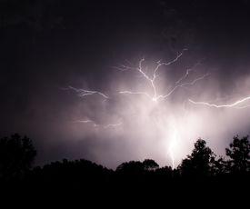 stock photo of lightning bolt  - lightning bolts captured on an october evening - JPG
