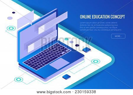 poster of Isometric Training, Online Learning, Webinar, Online Education, Business Training. Flat Vector Illus
