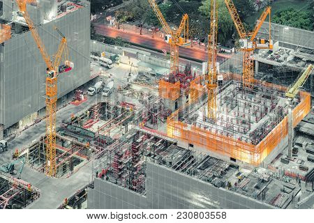 poster of Top View Of An Under Construction Building Site. Civil Engineering, Industrial Development Project,