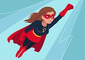 Superhero Woman In Flight. Attractive Young Caucasian Woman Wearing Superhero Costume With Cape, Fly poster