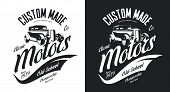 Vintage Custom Hot Rod Motors Black And White Tee-shirt Isolated Vector Logo. Premium Quality Old Sp poster