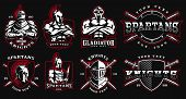 Set Of Logos, Badges With Ancient Warriors. Vector Illustration With Knight, Spartan And Gladiator.  poster