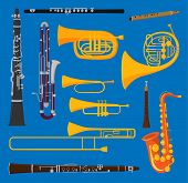 Musical Wind Air Tube Brass Instruments Vector Isolated On Background Blow Blare Studio Acoustic Shi poster