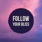 Inspirational Motivational Quote follow Your Bliss On Pastel Sky Background. poster