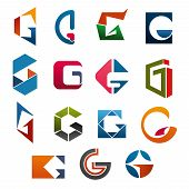 Постер, плакат: G Letter Icons Template For Corporate Or Business Company And Brand Name Emblem Vector Letter G Set