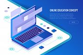 Isometric Training, Online Learning, Webinar, Online Education, Business Training. Flat Vector Illus poster