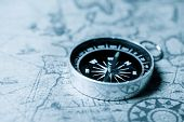 Vintage compass and old navigation map. poster