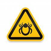 Ticks Warning Mite Bug Sign. Encephalitis Parasite Icon. Beetle Tick Danger Crossed Sign Vector Flat poster