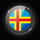 Aland Islands National Flag. Application Language Symbol. Country Of Manufacture Icon. Round Glossy  poster