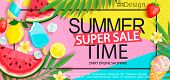 Super Sale Banner With Gourmet Food To Summer Time Such As Ice Cream, Watermelon, Strawberries.vecto poster