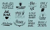 Set Of 12 Hand Lettering Christian Quotes Only Jesus. Love One Another. Church Ministry. Alleluia. B poster
