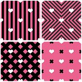 Tile Vector Pattern With Hearts On Pink And Black Background poster
