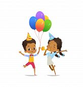 Happy African-american Kids With The Balloons And Birthday Hat Happily Jumping With Their Hands Up A poster