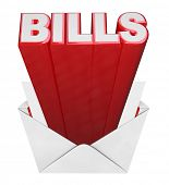 The word Bills coming out of an open envelope representing the time of the month to pay your bills - credit card, mortgage and other loans, utilities and other expenses