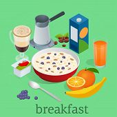 Isometric Breakfast And Kitchen Equipment Icons Set. Breakfast Served With Coffee, Orange Juice, Oat poster