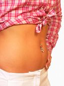 image of pierced belly button  - A nice diamond ring on the belly button of a young women - JPG