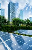 solar panel plant with urban landscape landmarks,Ecological energy renewable concept. poster