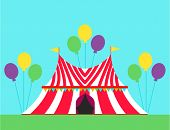 Circus Tent Marquee With Stripes And Flags Carnival Entertainment Amusement Elements Flat Vector. En poster