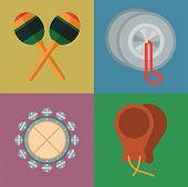 Постер, плакат: Musical Tambourine Maraca Drum Wood Rhythm Music Instrument Series Set Of Percussion Vector Illustra