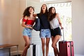 Group Of Female Friends Arriving At Summer Vacation Rental poster