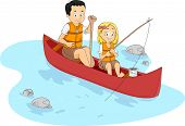 Illustration of a Kid Fishing with Her Teacher/Counselor