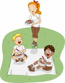 Illustration of Kids Eating Outdoors