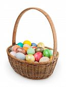 Easter Basket Isolated On White Background With Clipping Path poster