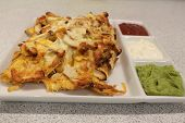 Mexican Nachos With Chicken. Nachos With Corn Chips, Cheese, Salsa, Guacamole, Sour Cream, And Chick poster