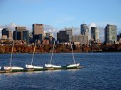 Boston Skyline With Sailboat On Charles River