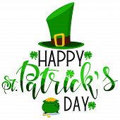 Happy St. Patricks Day Hand Drawn Text, Logo, Banner, Card Vector Icon. poster