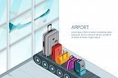 Luggage, Suitcase, Bags On Conveyor Belt In Airport Terminal. Vector 3D Isometric Illustration. Trav poster
