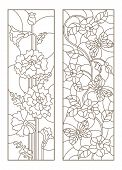 Set Of Contour Stained Glass Illustrations With Poppies And Flowers With Butterflies, Dark Contours  poster