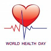 World Health Day Red Big Heart Cardiogram Art Creative Modern Illustration Vector White Background poster