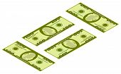 Illustration Of Money Icons. Dollar Currency Banknote Green. Dollars Bill, Money Banknote. Vector Do poster