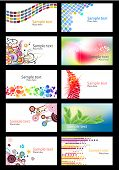 Set of different colorful business cards on white background