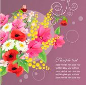 Vector greeting card with big beautiful bunch of flowers