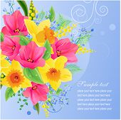 Vector greeting card with big bunch of spring flowers