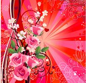 Summer romantic background with red roses