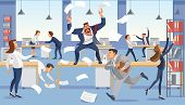Angry Boss Shout In Chaos Office Because Of Failure Deadline. Stressed Vector Cartoon Characters. poster