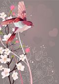 foto of nightingale  - Flying nightingale and blossoming tree - JPG
